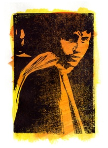 Bob Dylan. Woodcut and wash. 36cmx23cm (framed)