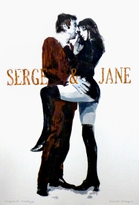 Serge & Jane. Monoprint. 70mm x 50mm framed.